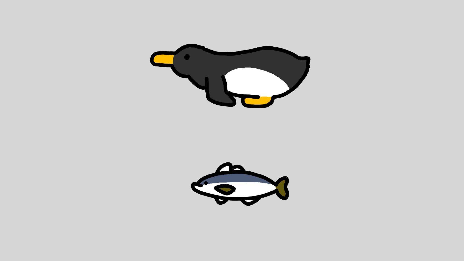 ペンギン鯵のイラスト