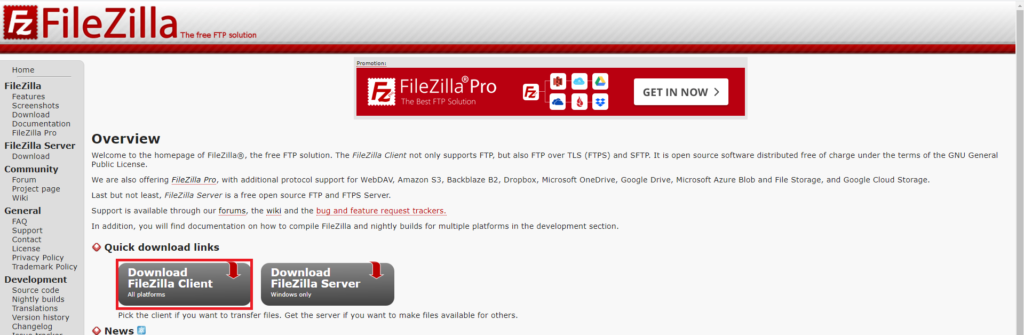 FileZillaのインストーラーを入手
